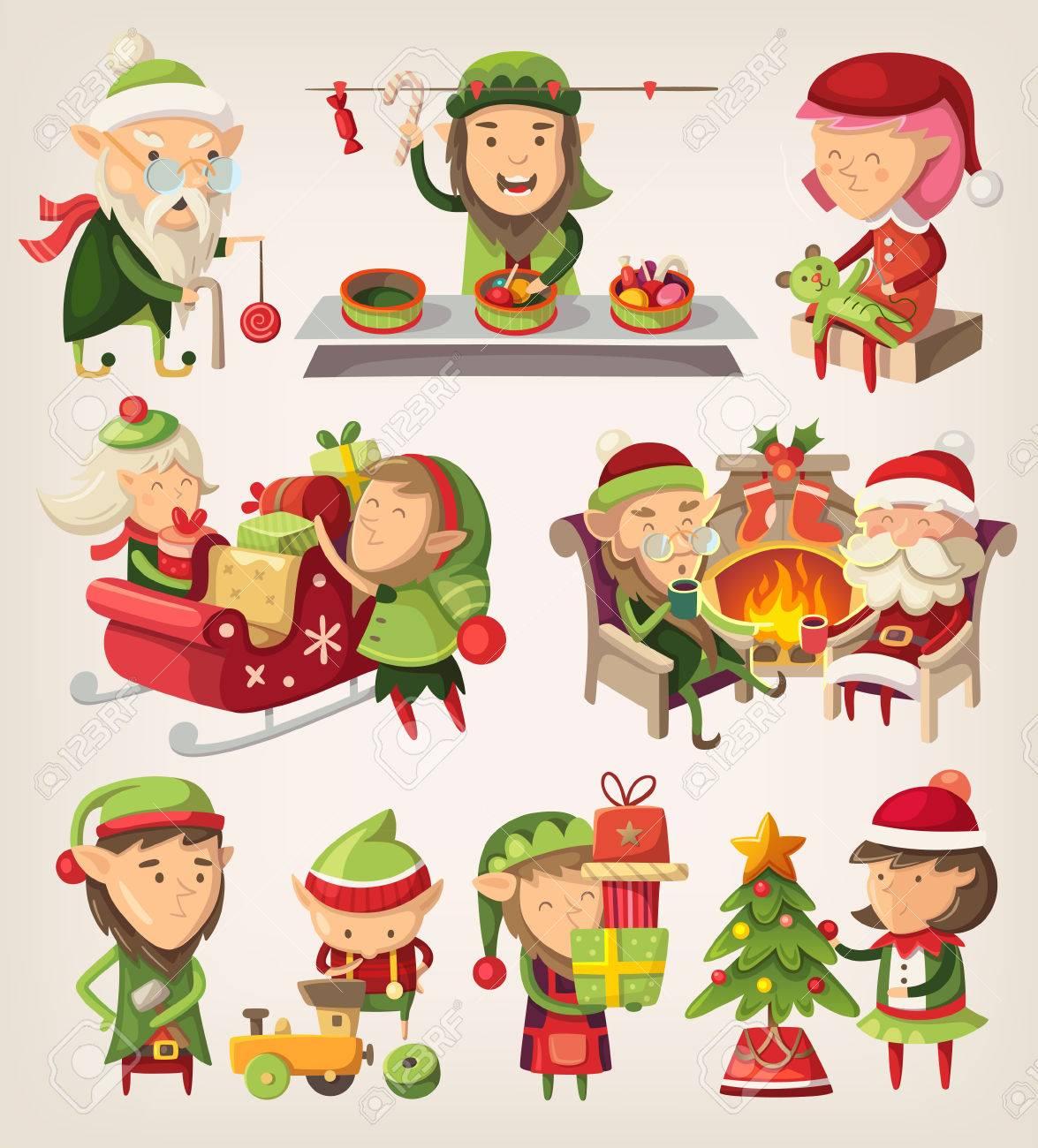 2deb78b50d3d75 Ensemble De Lutins Du Père Noël Se Préparent Pour Noël. Clip Art ..