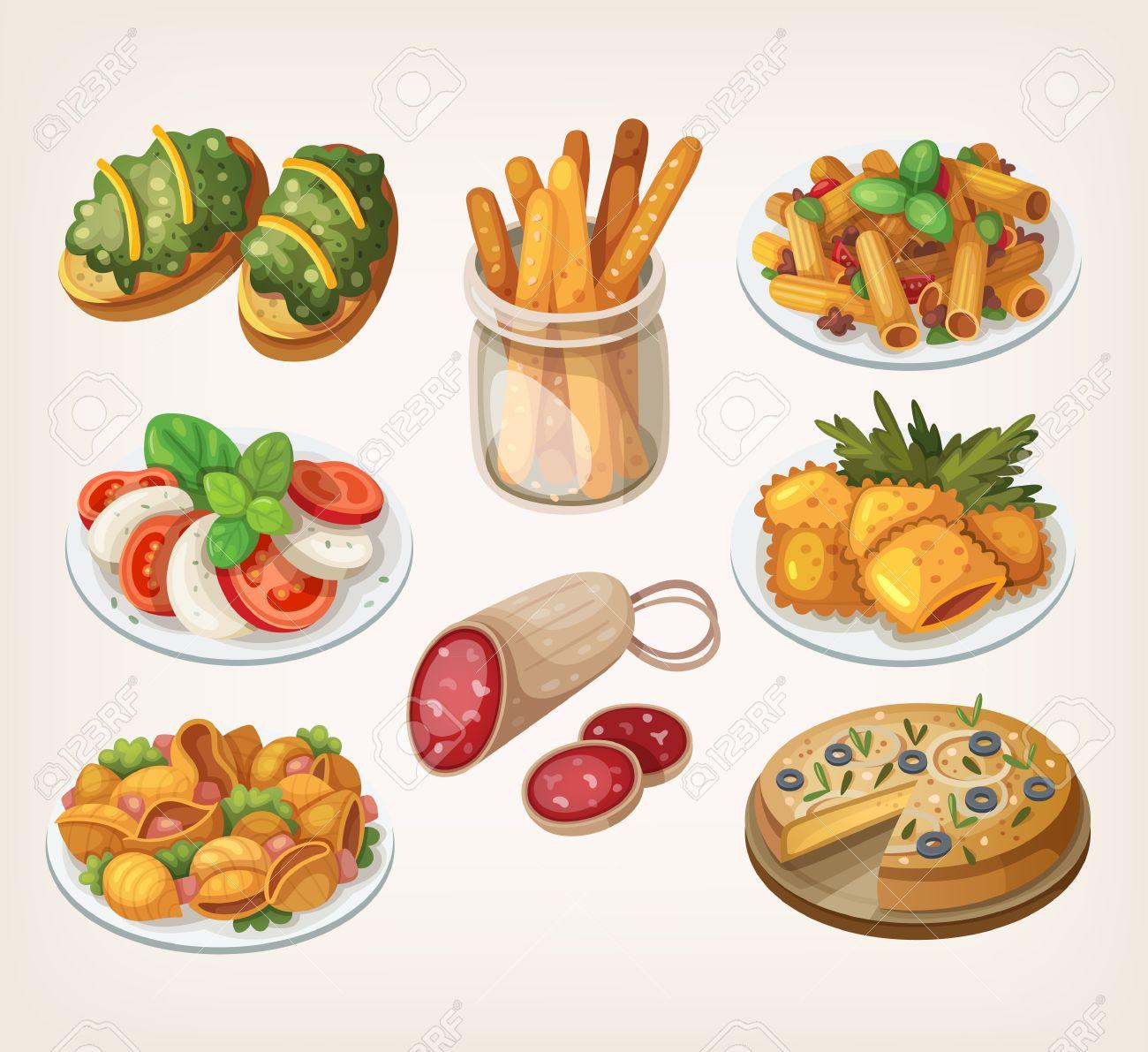 Ensemble De Produits De Cuisine Italienne Traditionnelle Et Des
