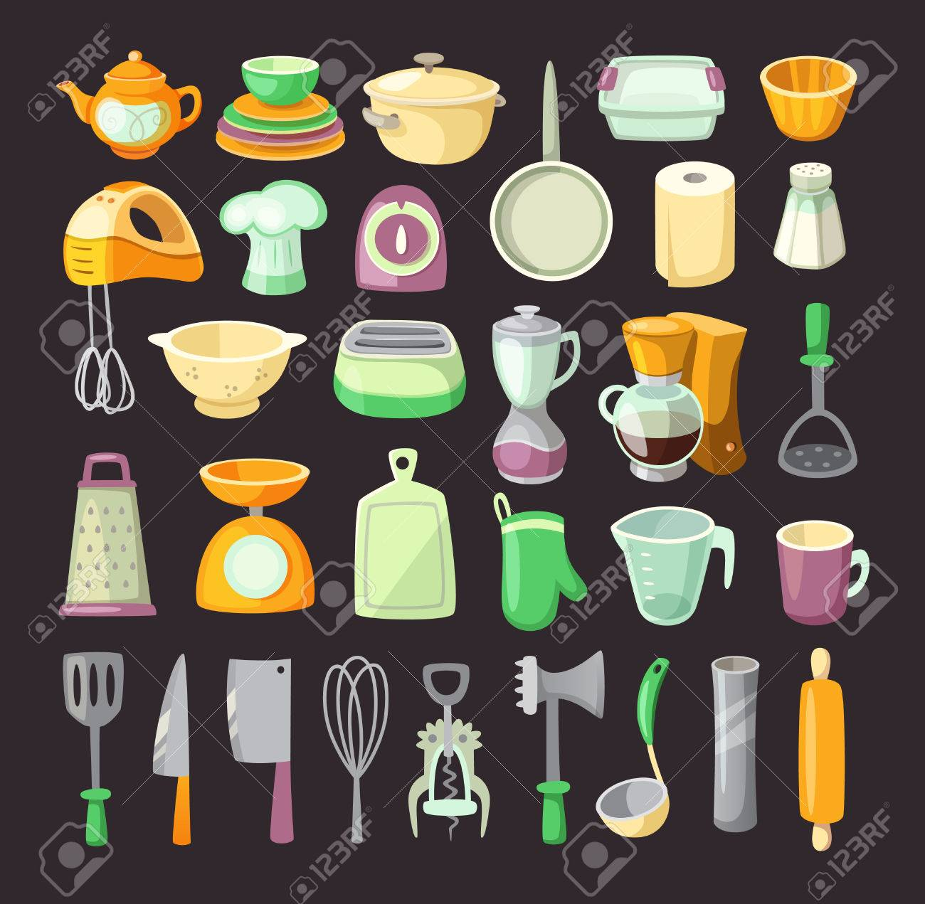 Set Of Colorful Kitchen Utensils Used For Cooking Breakfats Or