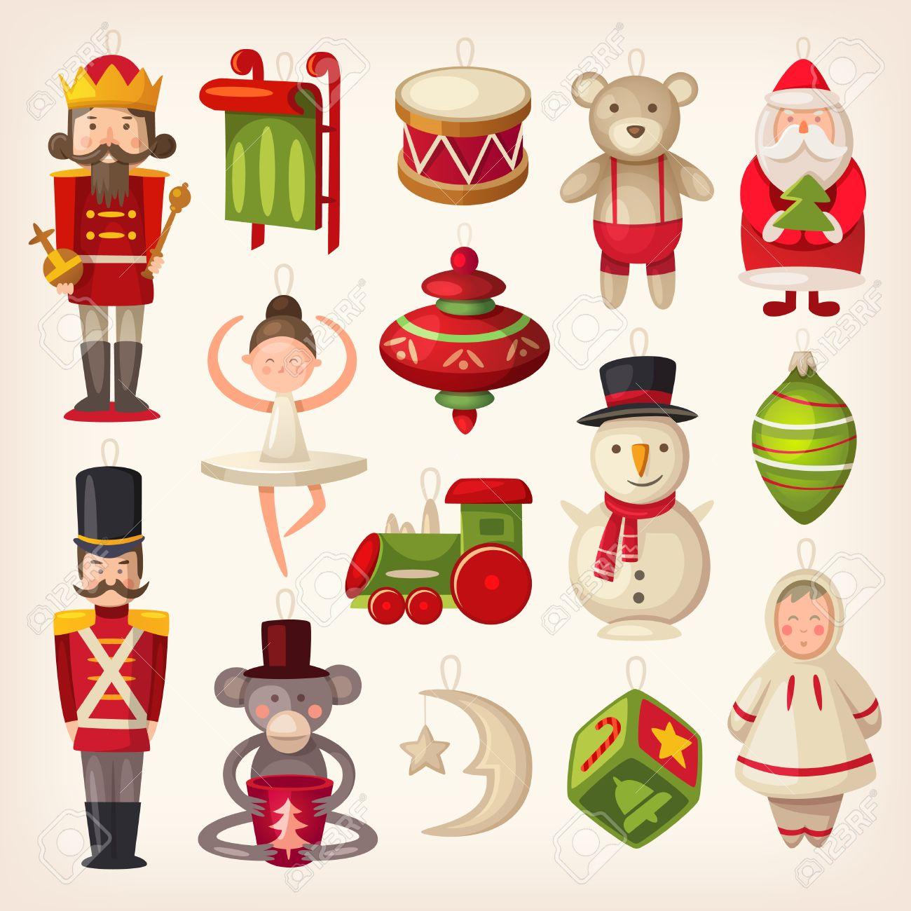 Immagini Di Natale Colorate.Set Di Colorate Retro Giocattoli In Legno Di Albero Di Natale