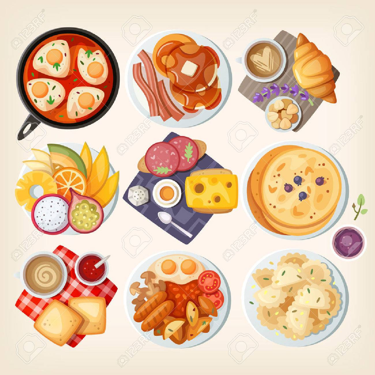 Traditional breakfast dishes from different countries: Israel, USA, France, Hawaii (USA), Denmark, Sweden, Italy, Great Britain, Poland. Vector illustrations. - 52936472