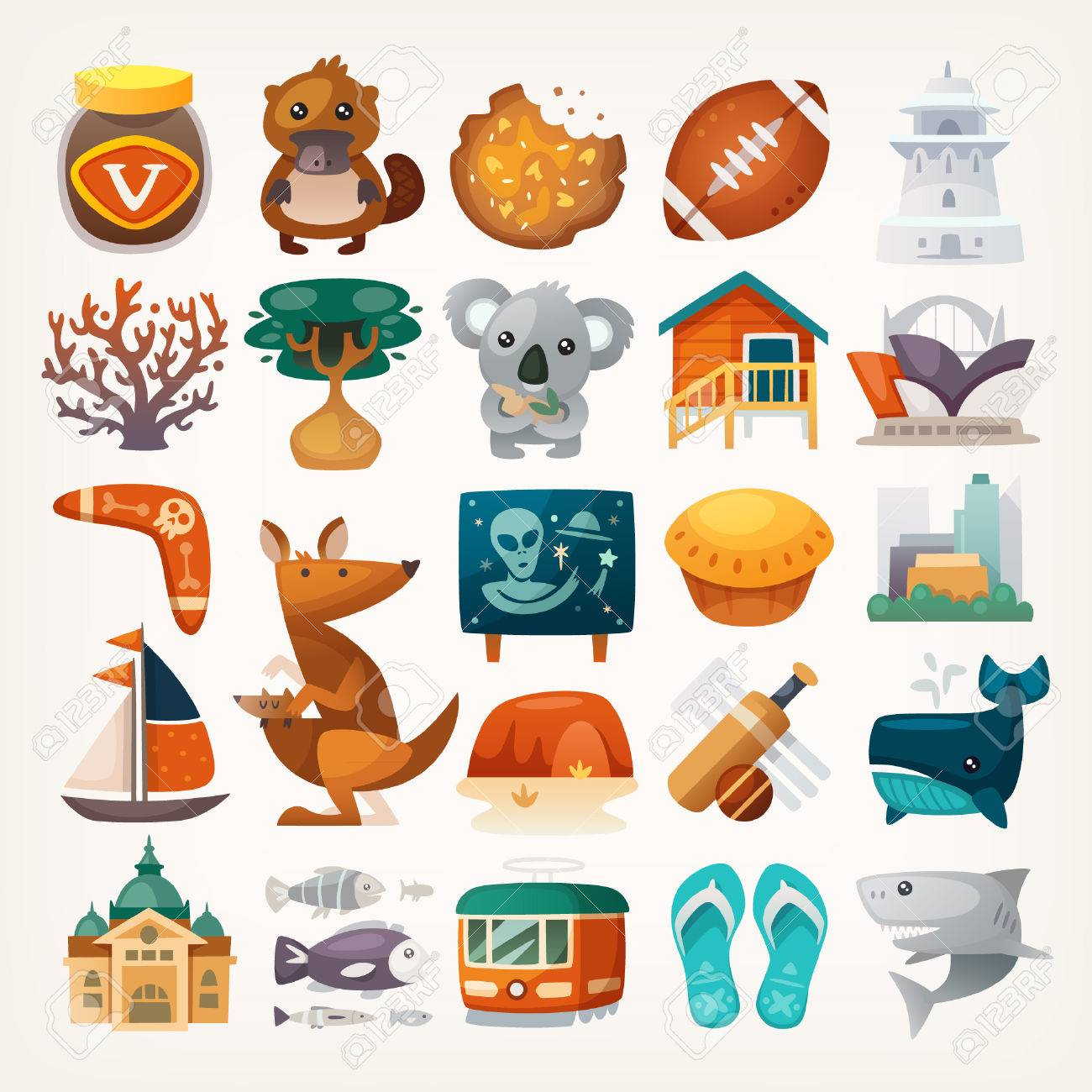 Set Of Australian Travel Icons Symbols Of The Continent Various
