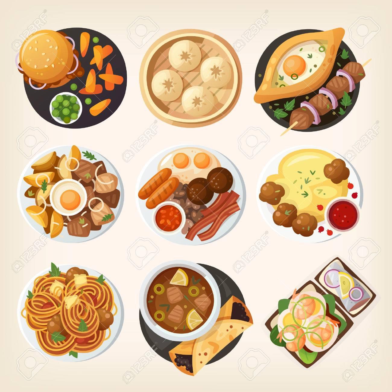 Dinner Tisch Großansicht. Draufsicht Auf Klassische Dinnergerichte ...