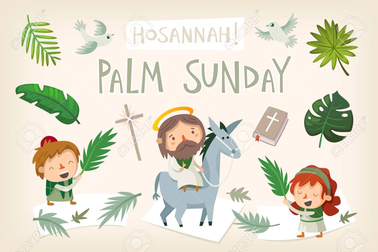 Jesus riding a donkey entering Jerusalem. People greeting him with palm branches and shouting Hosannah. Biblical easter story illustration Vector. - 96816798