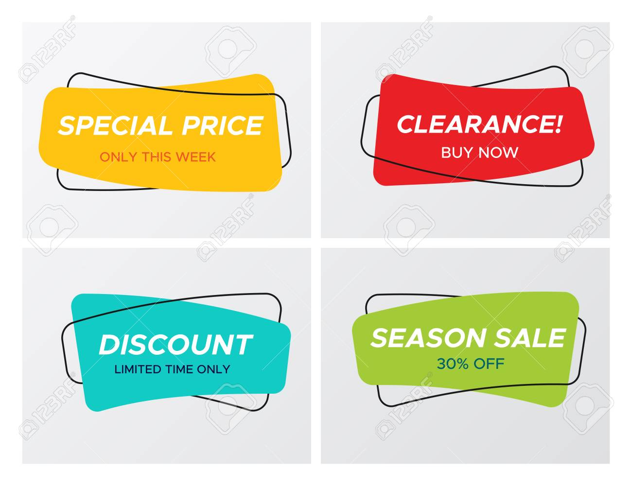 Collection of modern sale banner in creative form  Bright colors
