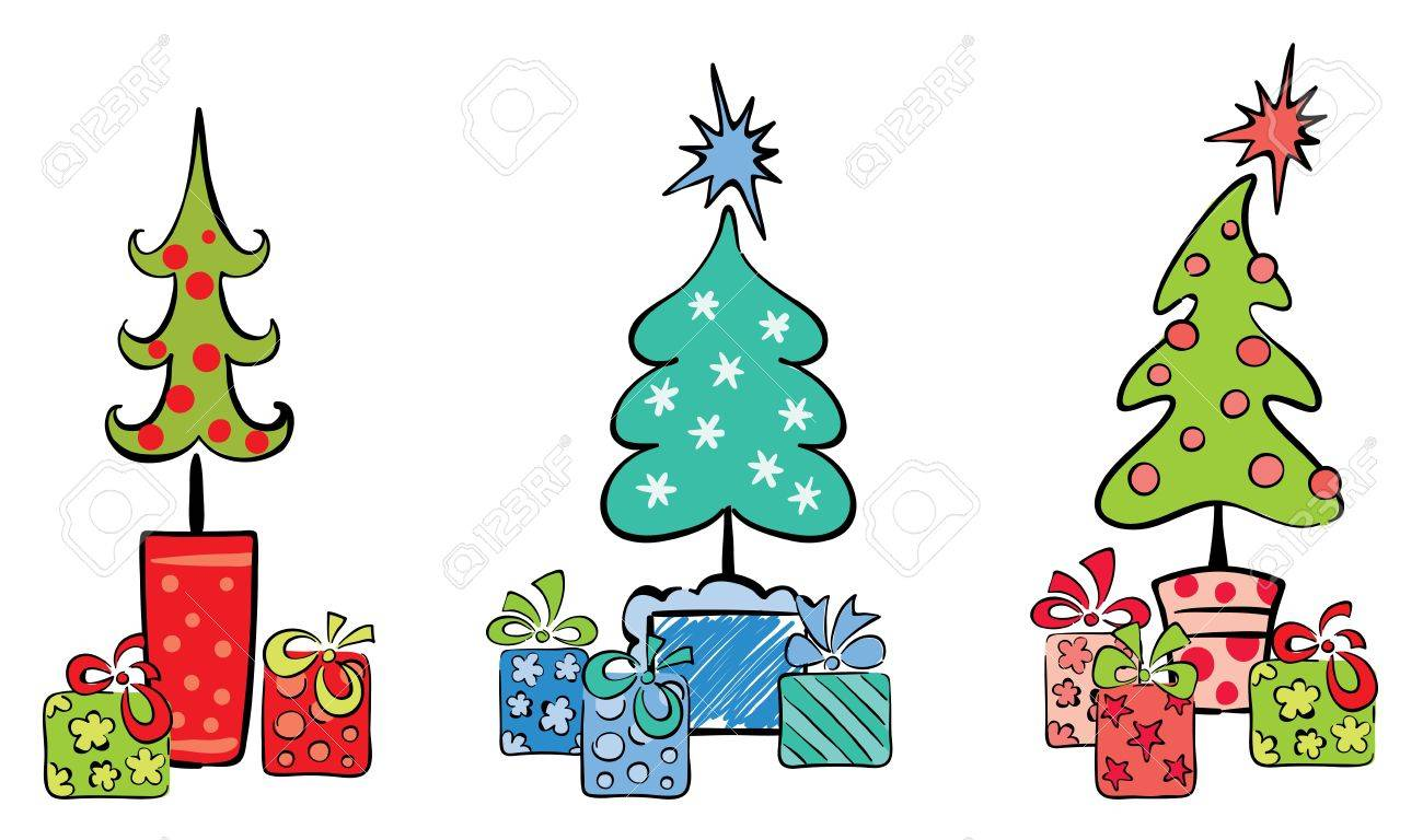 Set object -- Christmas trees with gifts Stock Vector - 10064089