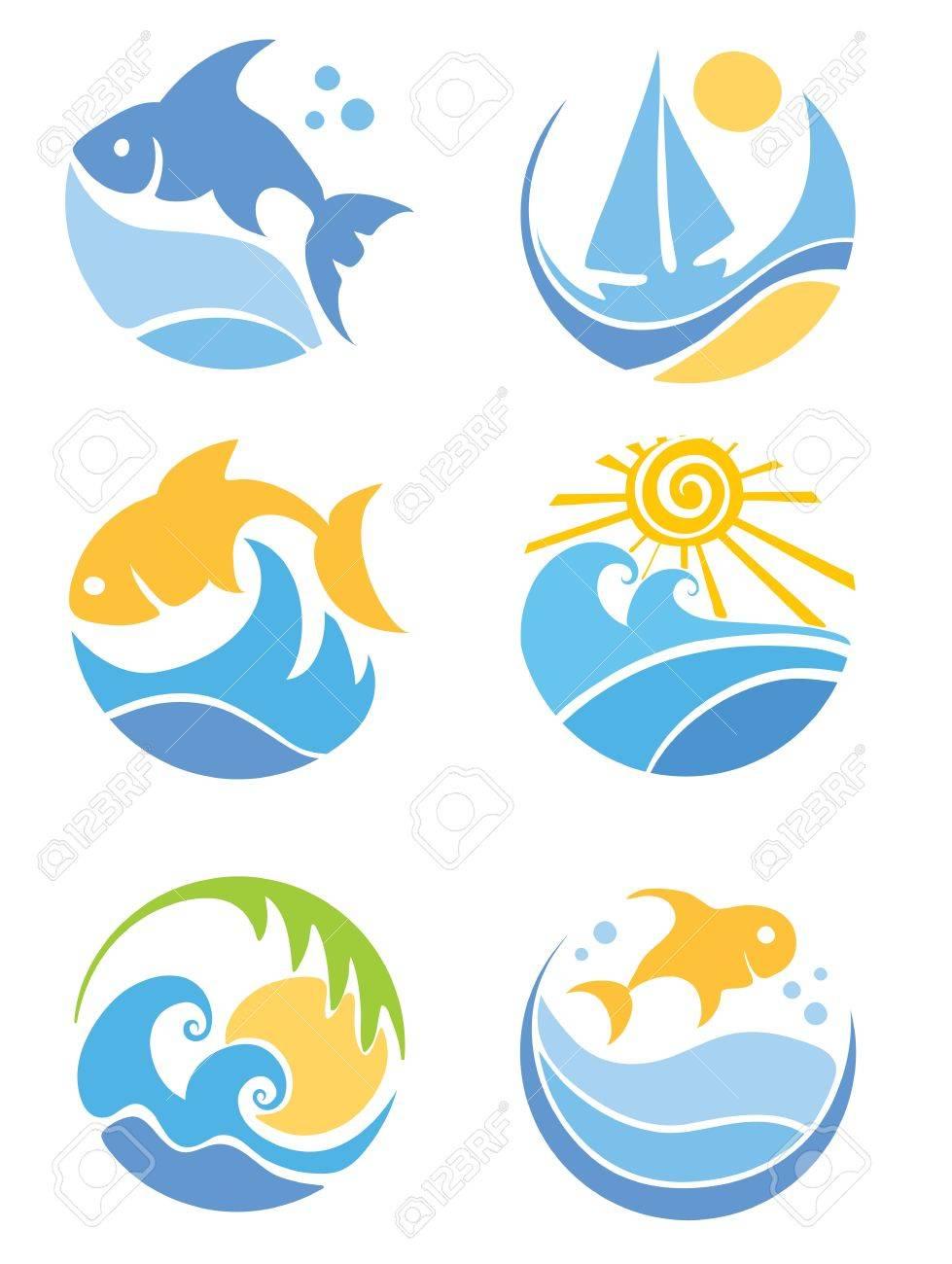 a set of icons of fish and sea royalty free cliparts vectors