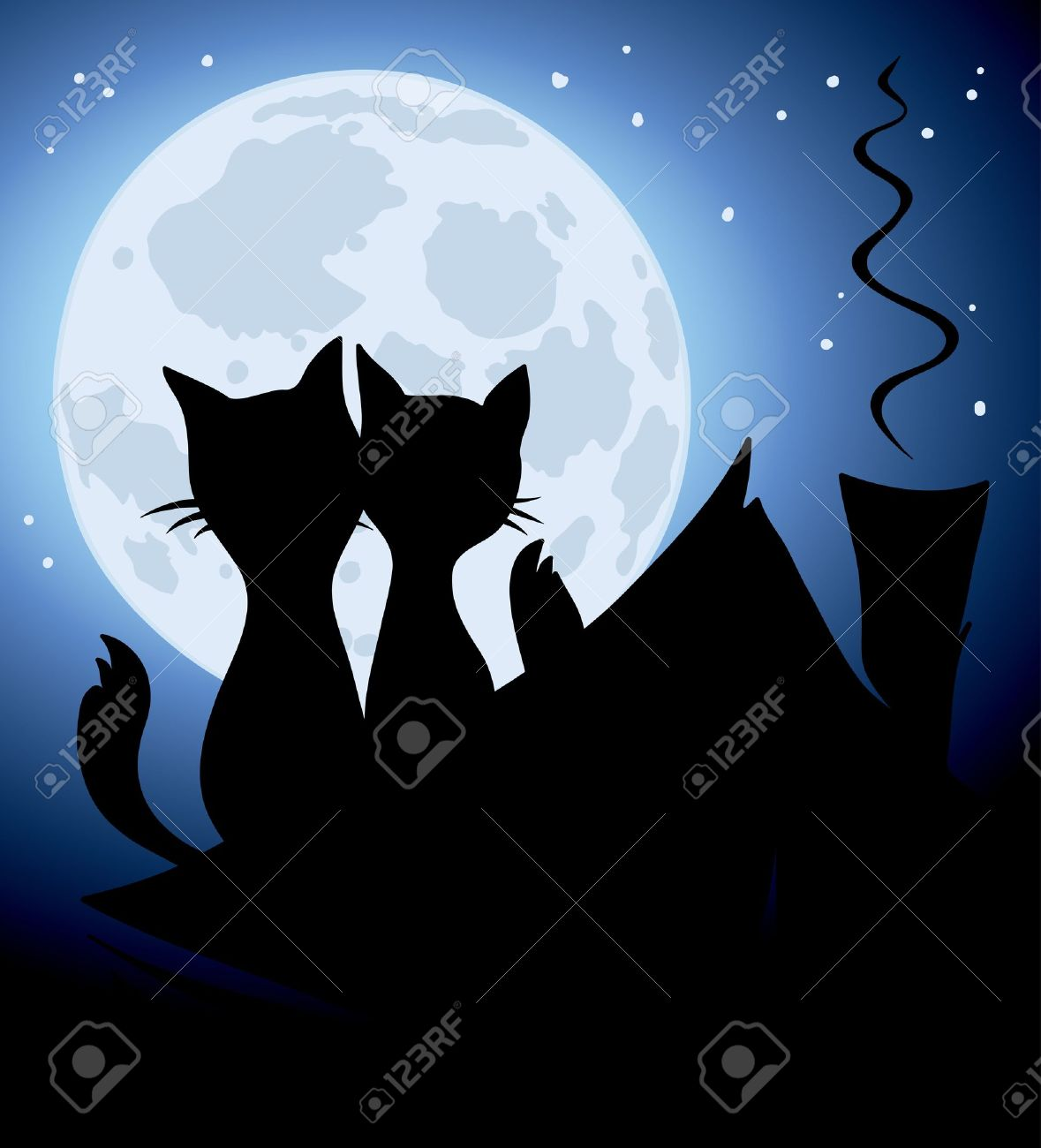 Cats and a full moon Stock Vector - 12902477