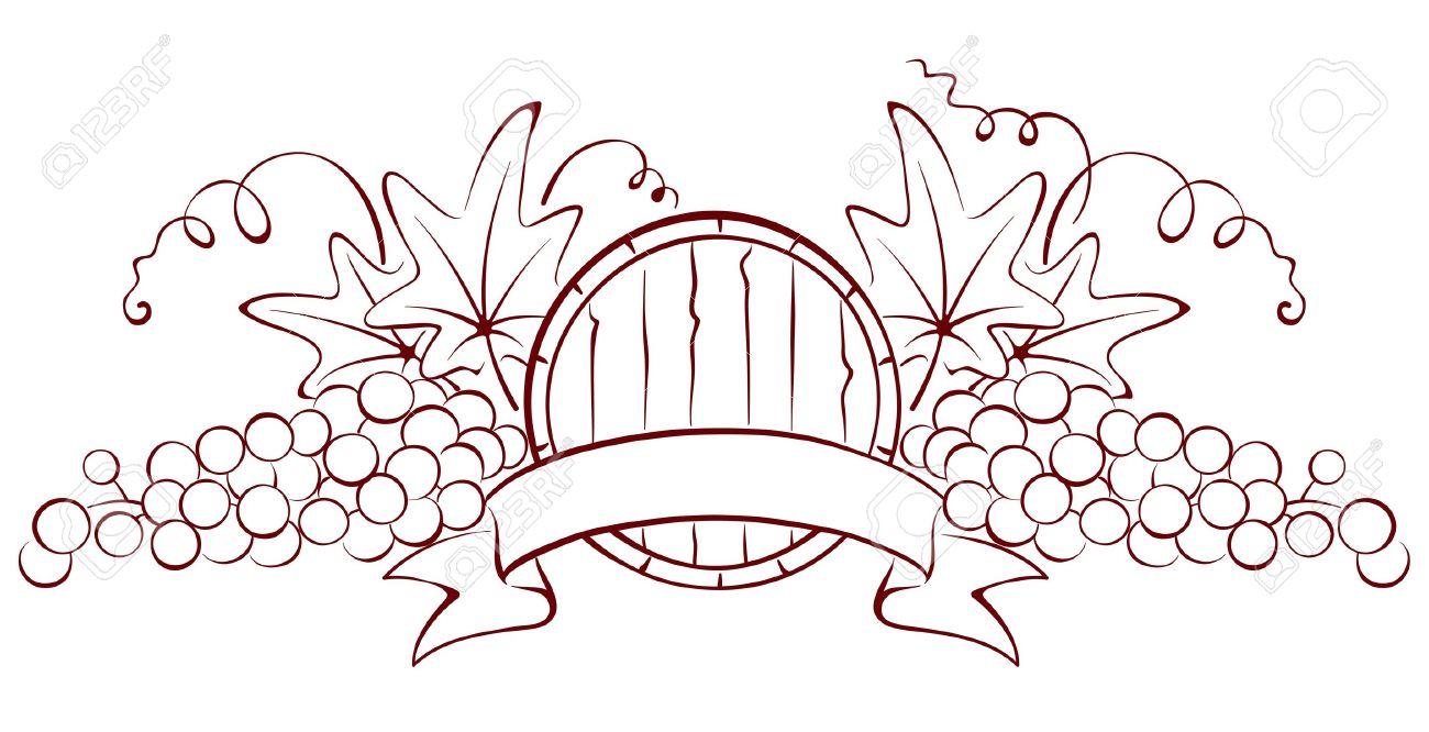 Design element - a barrel and grapes Stock Vector - 13239735