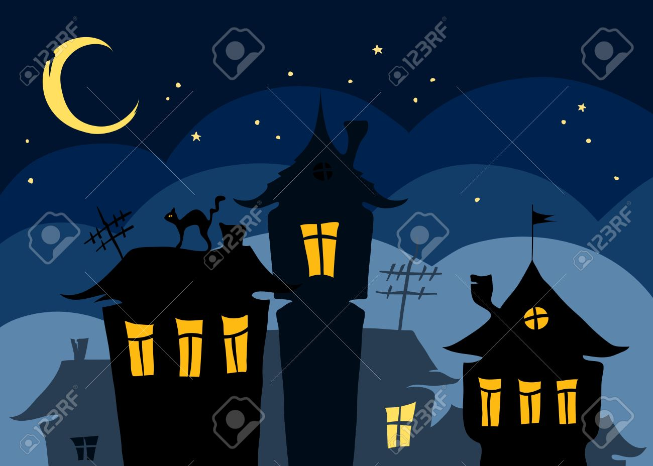 Night the old town with a cat on the roof Stock Vector - 13331709