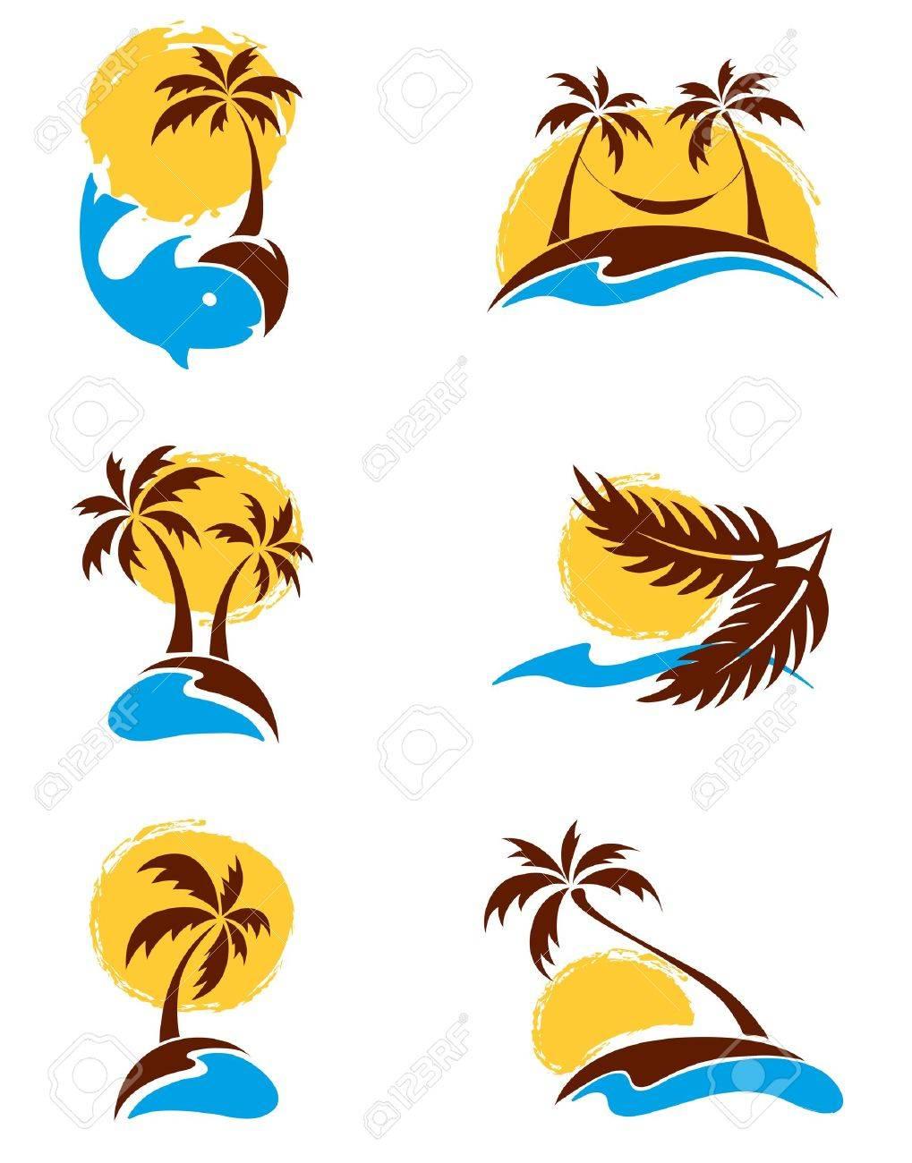 Set of logotypes - palm trees Stock Vector - 13331714