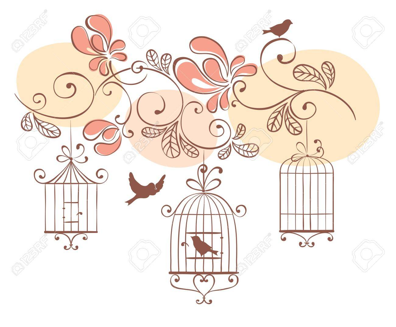 Floral background with birds Stock Vector - 13623637