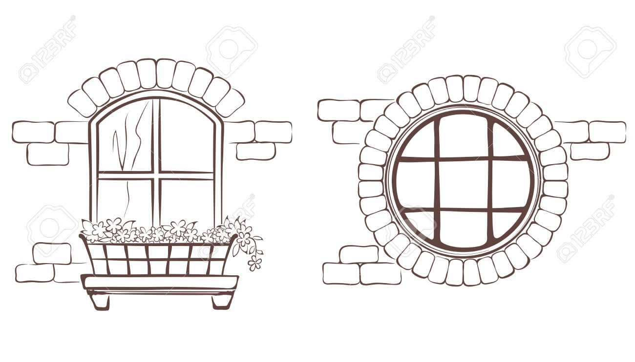 vintage window drawing. vintage window stock vector - 26698475 drawing w
