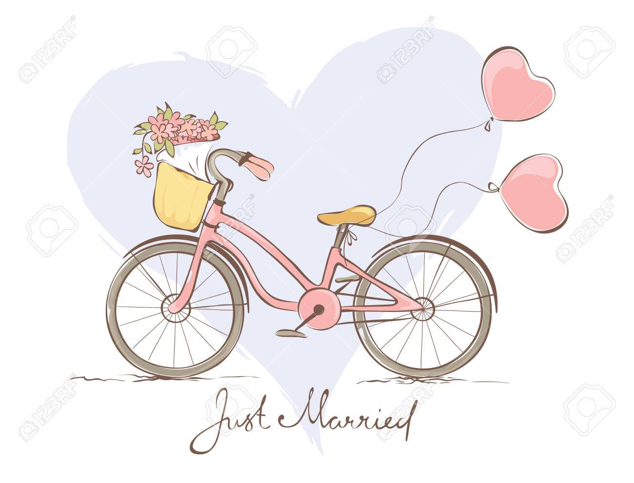 Hochzeitskarte Mit Einem Fahrrad Fur Die Braut Lizenzfrei Nutzbare