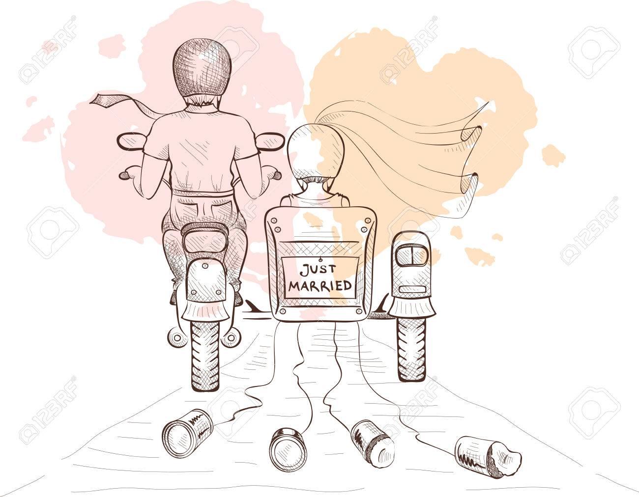 Grafik Vektor-Illustration - Braut Und Bräutigam Auf Einem Motorrad ...