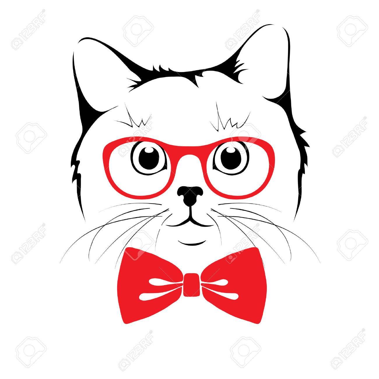 Stylish Cat illustration -- stylish cat hipster royalty free cliparts, vectors