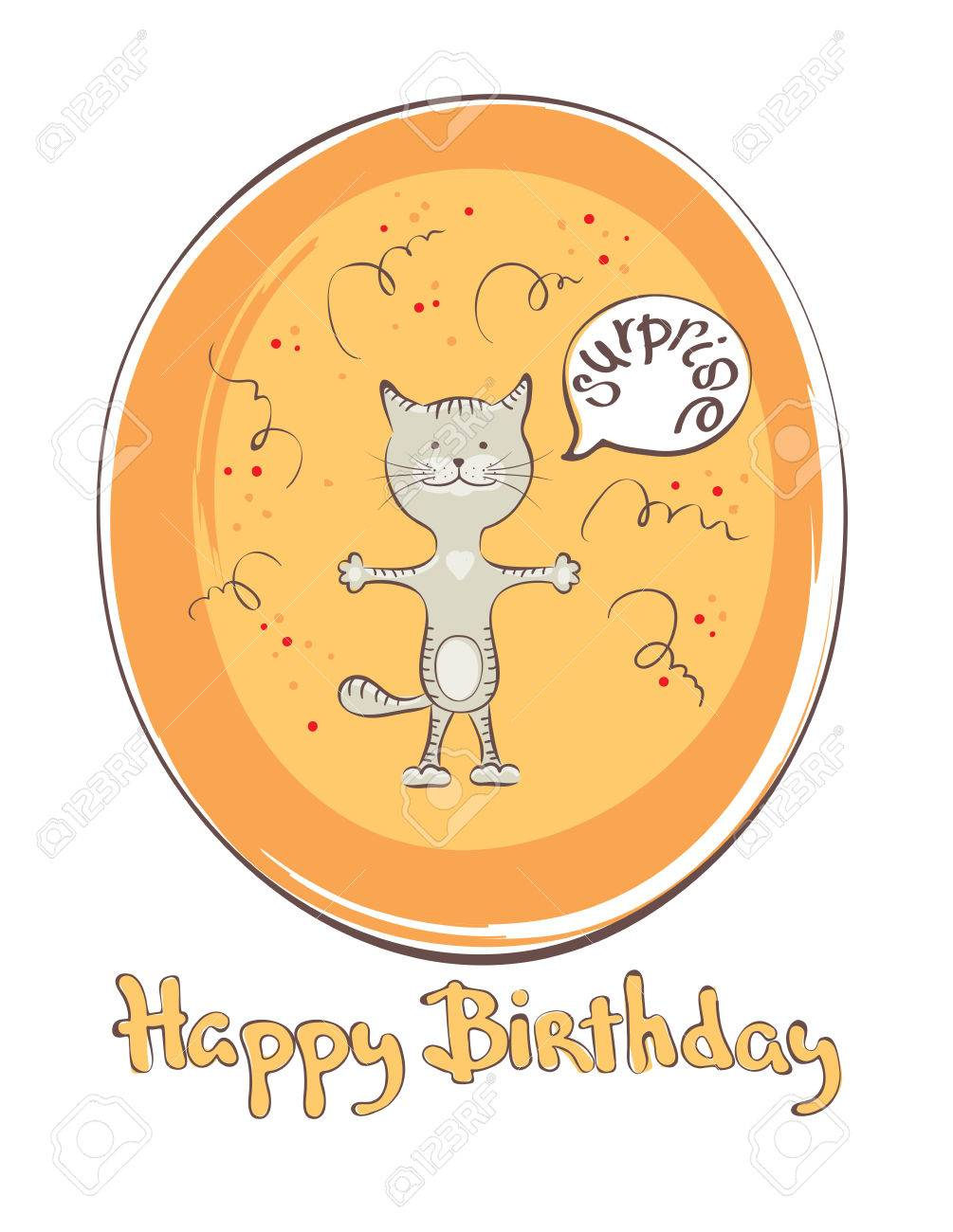 Funny Cats With Surprise Illustration Birthday Card Stock Vector