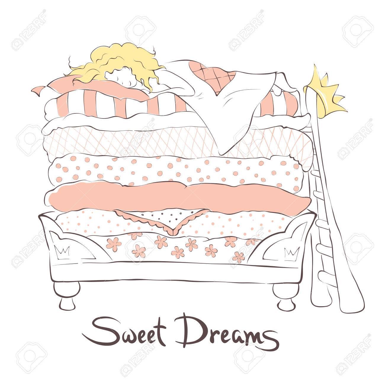 Prinzessin auf der erbse bett  Mädchen Schläft Süß Auf Dem Bett Prinzessin Auf Der Erbse ...
