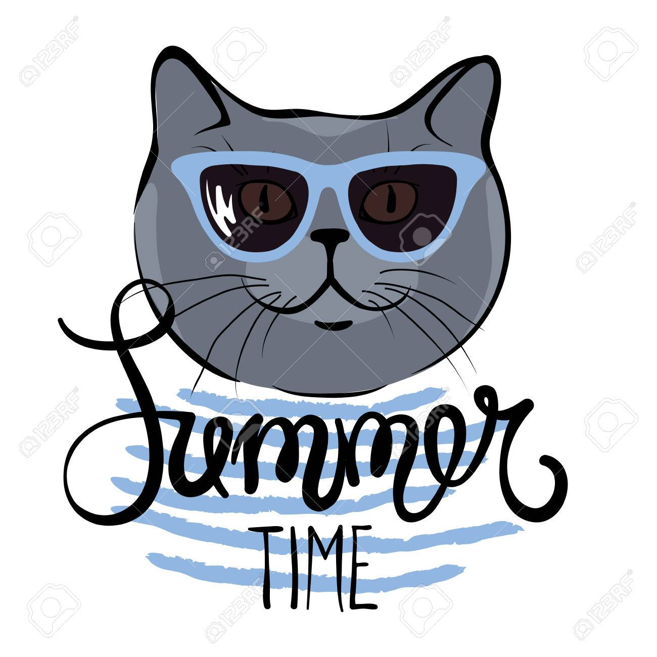 0e890479c167 Funny summer hand drawing calligraphy British blue cat in sunglasses Stock  Vector - 58463379