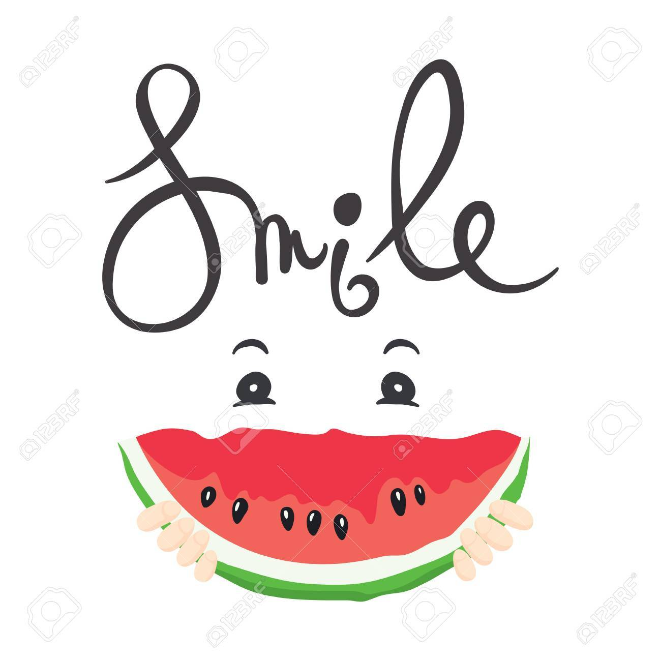 35f4d076ce2d A fun summer smile  Vector illustration with slices of watermelon Stock  Vector - 58537342