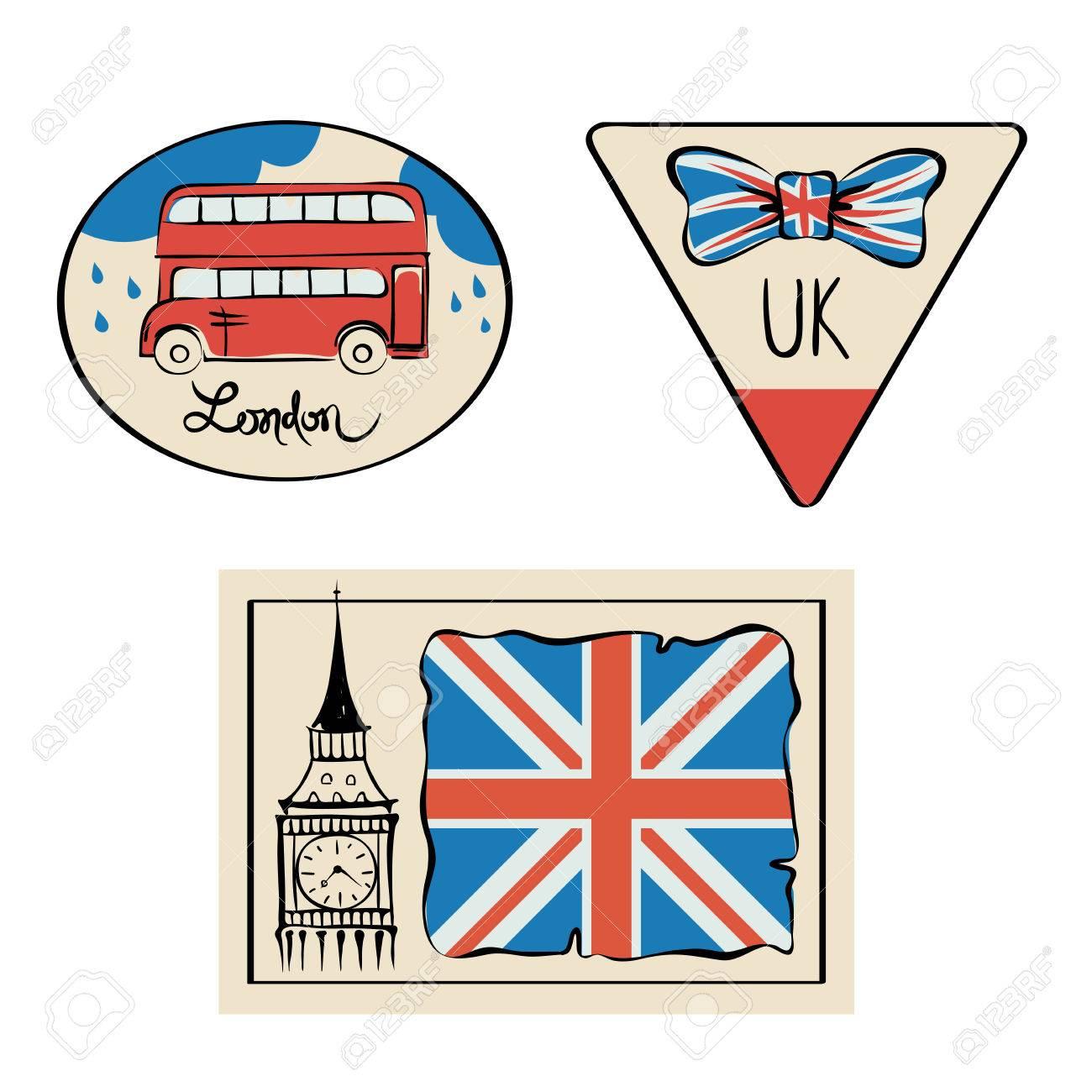 Pegatinas De Viajes - UK./ Fije Las Ilustraciones Con Símbolos Del ...