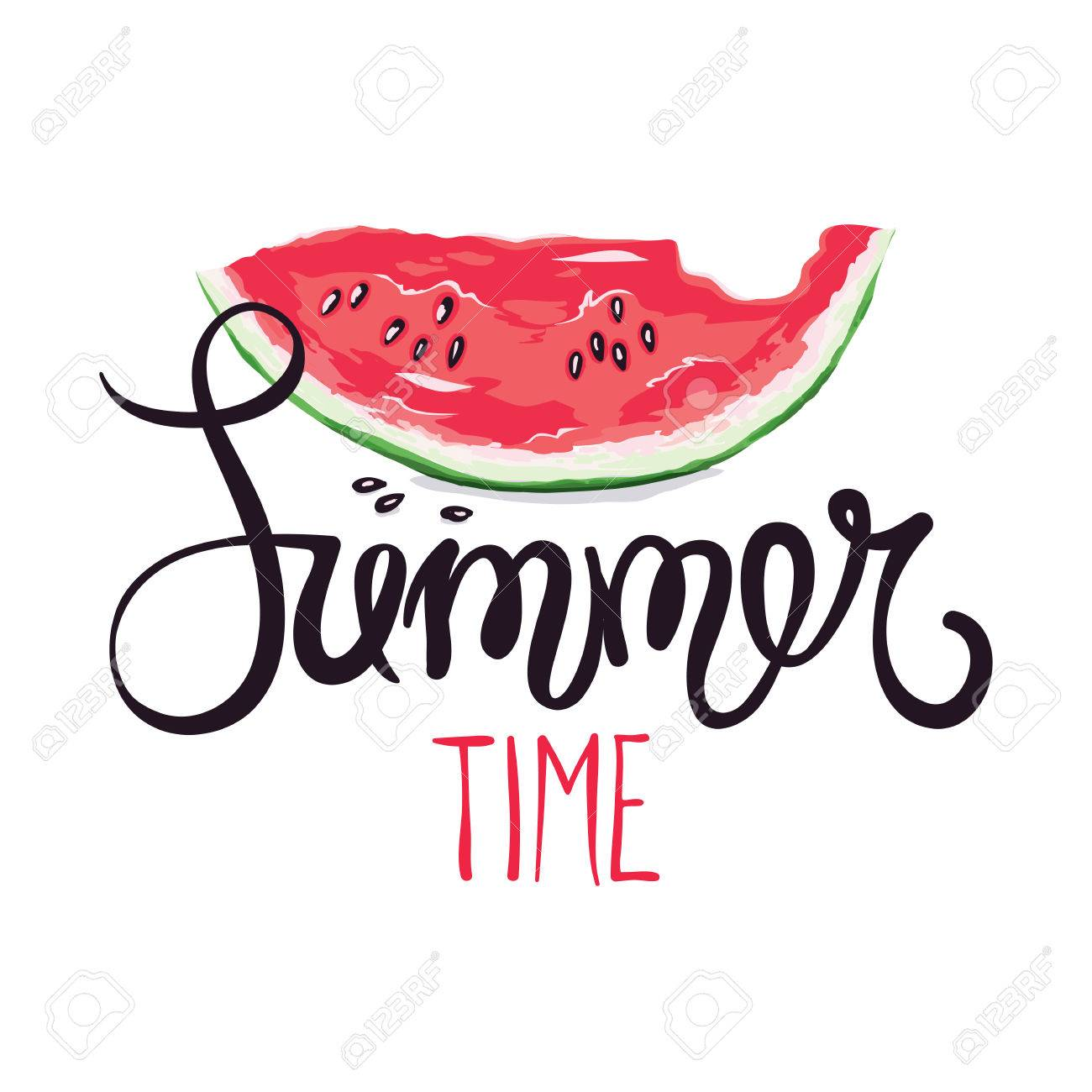 555fe2f07263 Funny summer hand drawing calligraphy  Vector illustration with slices of  watermelon Stock Vector - 58537363