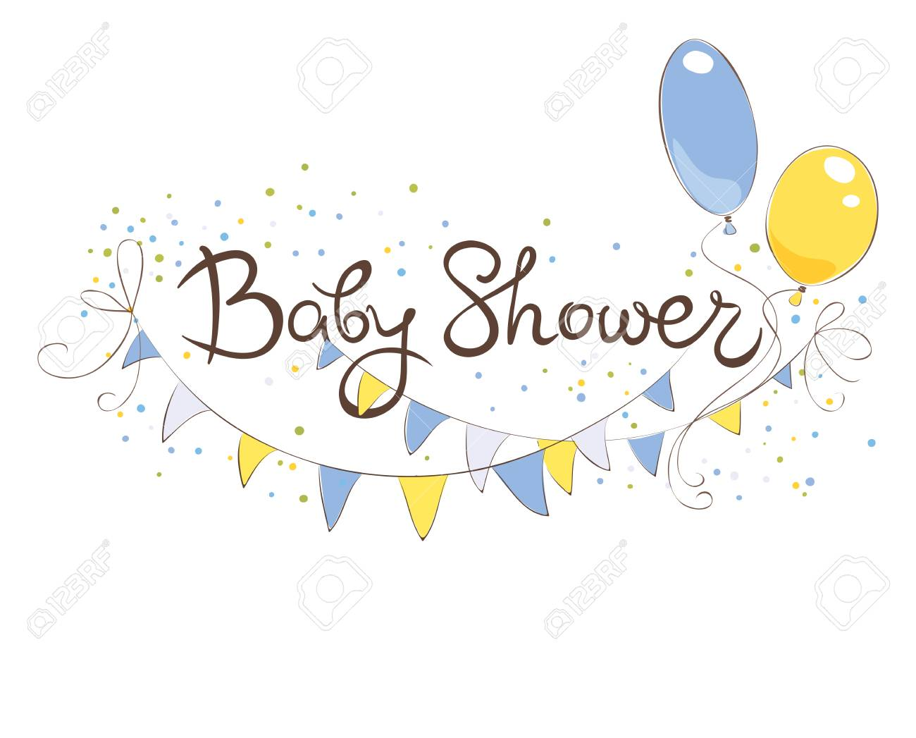 Baby Shower Banner For Boy Funny Vector Illustration With Balloons Royalty Free Cliparts Vectors And Stock Illustration Image 66131908