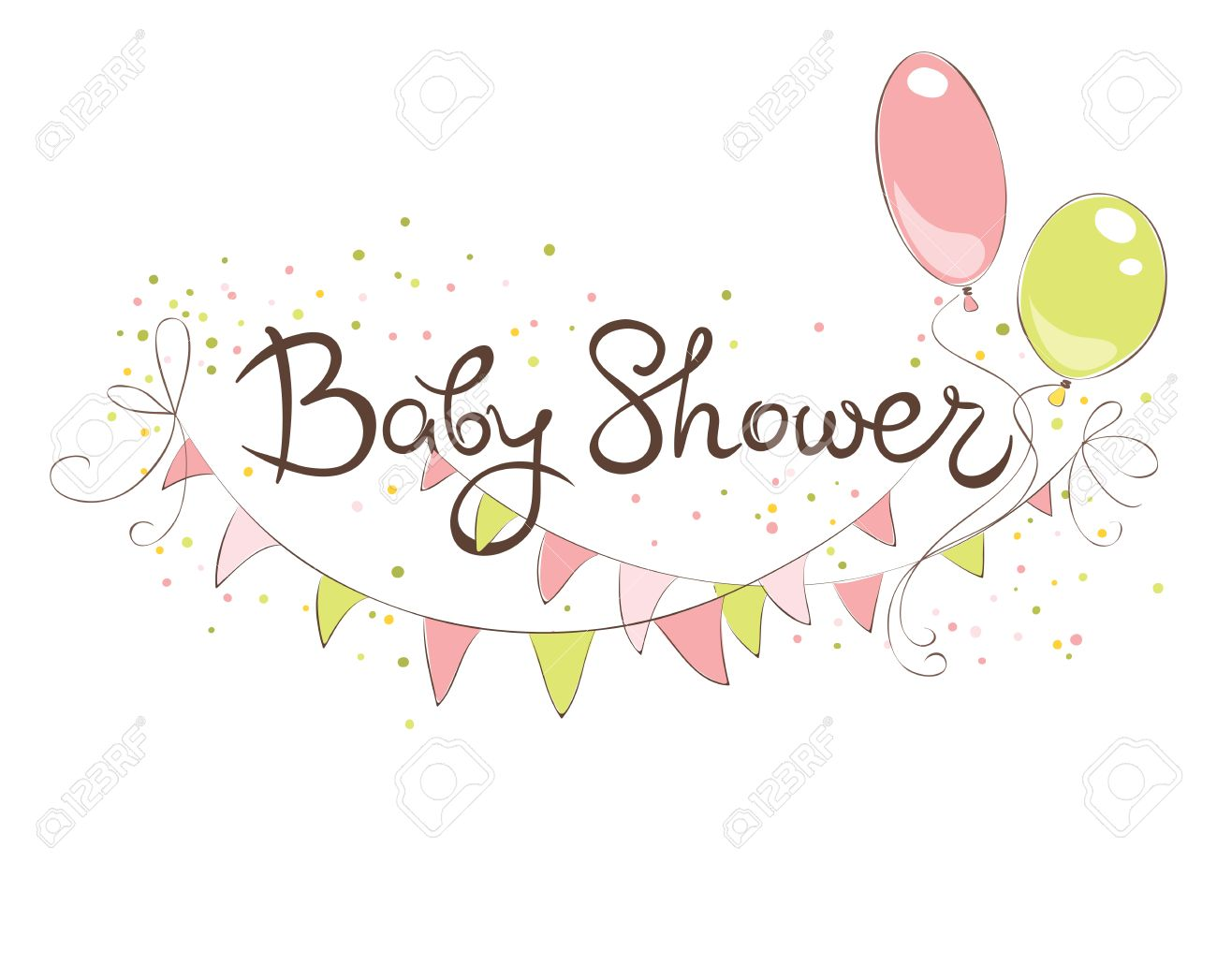 Baby Shower Banner For Girl Funny Vector Illustration With