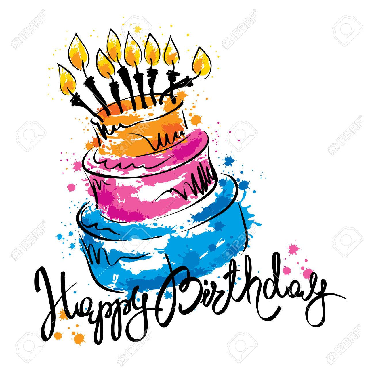 Cake ans Happy Birthday / Handwritten vector calligraphy with abstract cake - 66131945