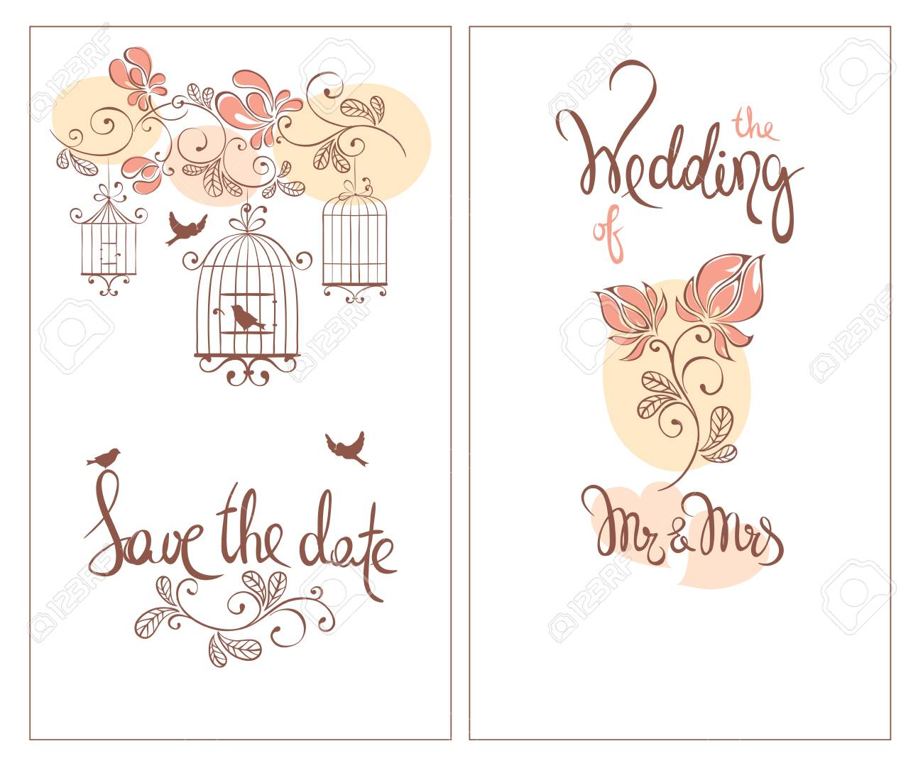 save the date wedding invitation card classic vector ornaments