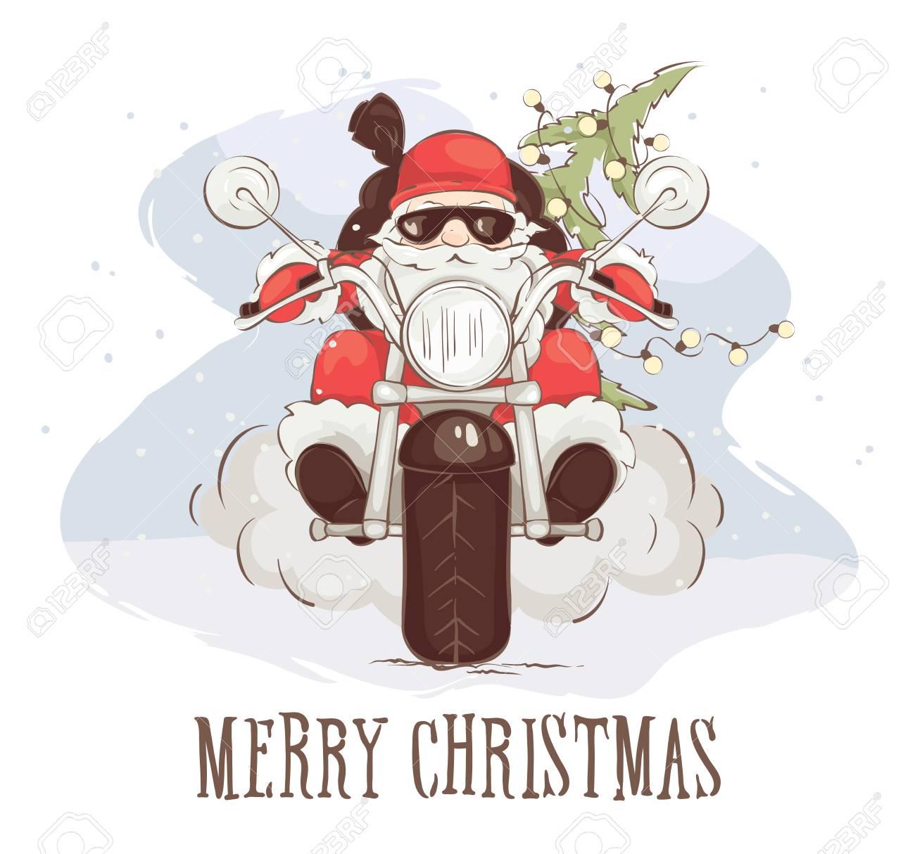 Christmas Card - Santa Biker Vector Illustration, Santa Claus ...