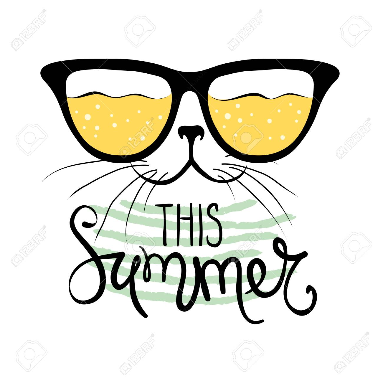 e8c45dde9741 Cat In Sunglasses Funny Summer Hand Drawing Calligraphy