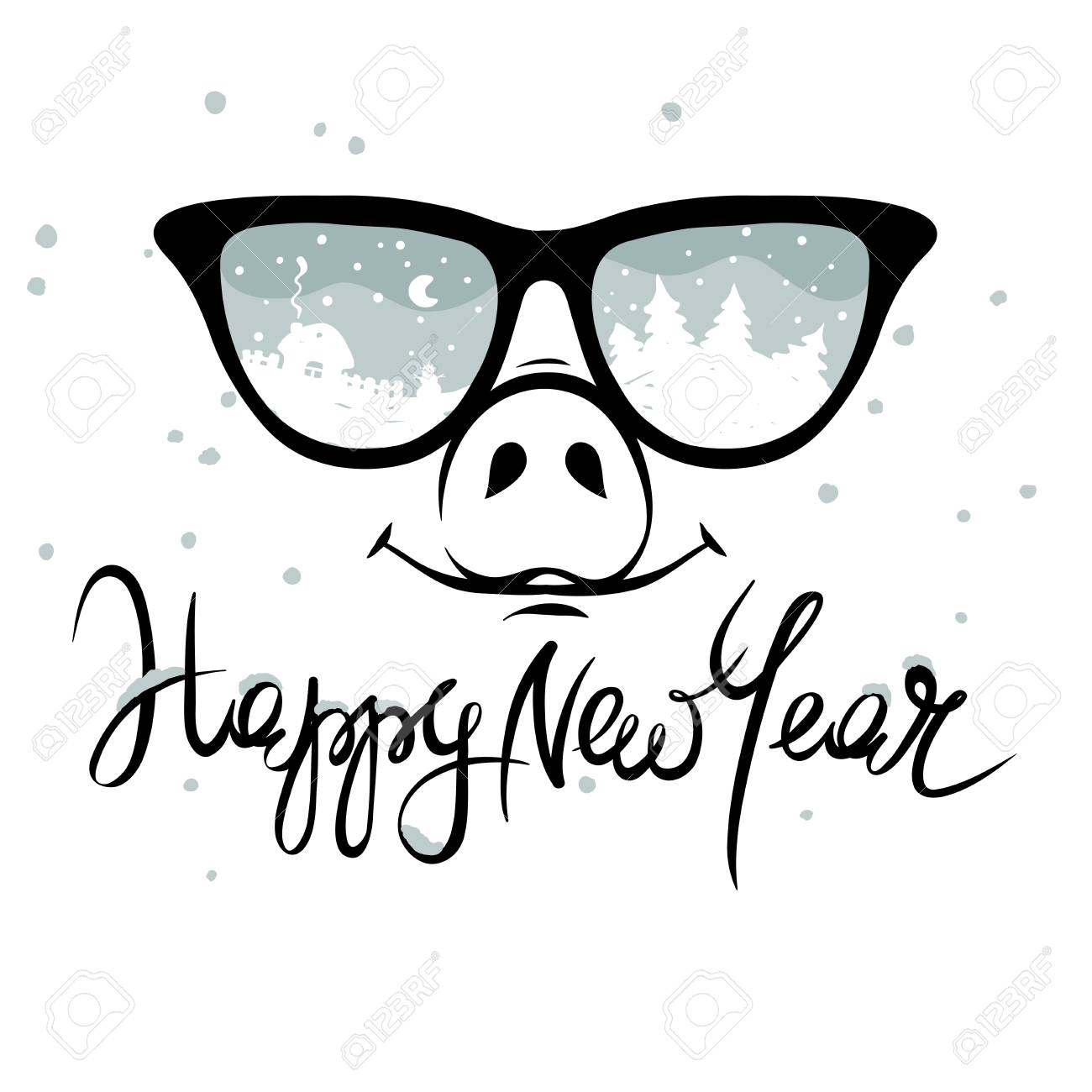 5865b8ce899d Pig in the glasses in which winter is reflected   Funny christmas hand  drawing calligraphy