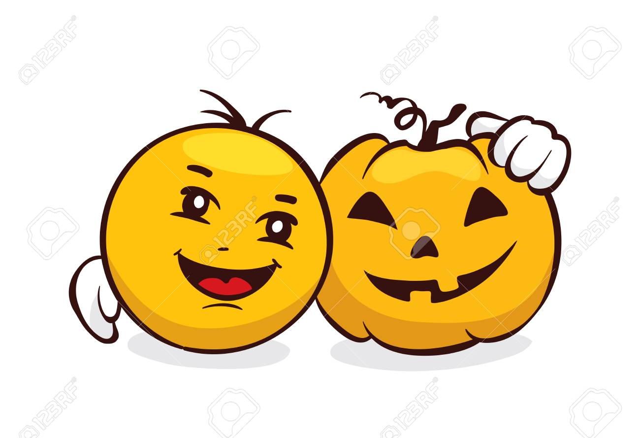 Funny Emoji set -- halloween / Vector illustration, smiley face