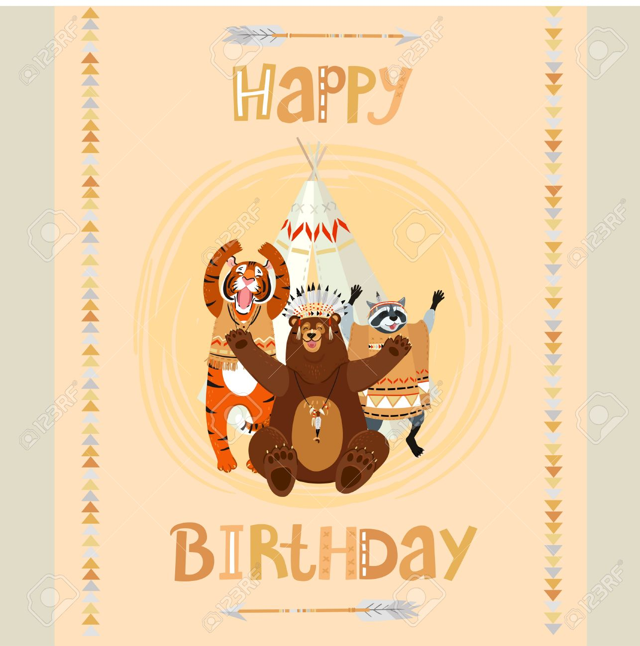 Cute tematical american indian happy birthday card with funny cute tematical american indian happy birthday card with funny bear raccon tiger and tipi kristyandbryce Images