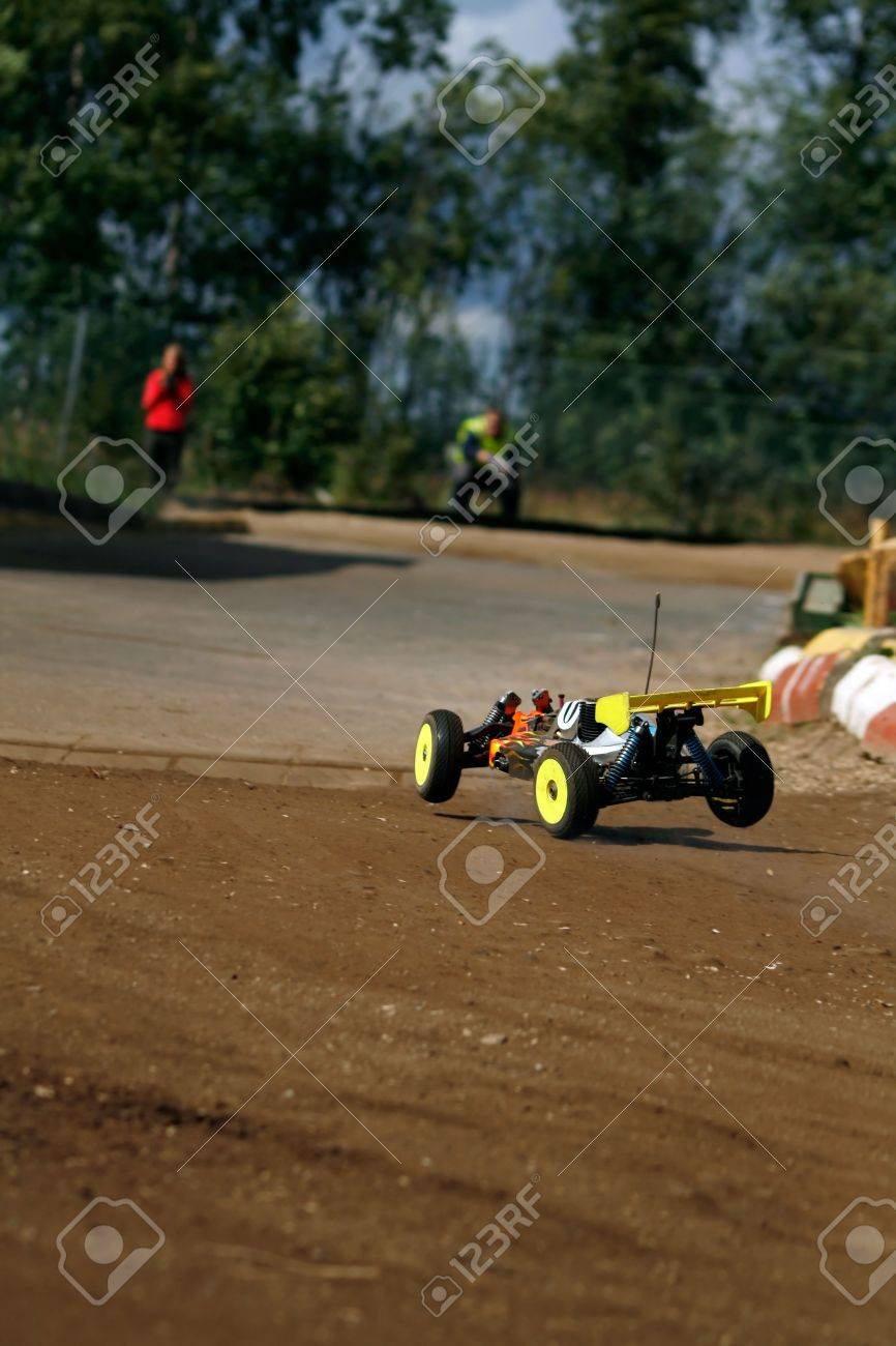 rc toy car rally on dirt track Stock Photo - 2412506