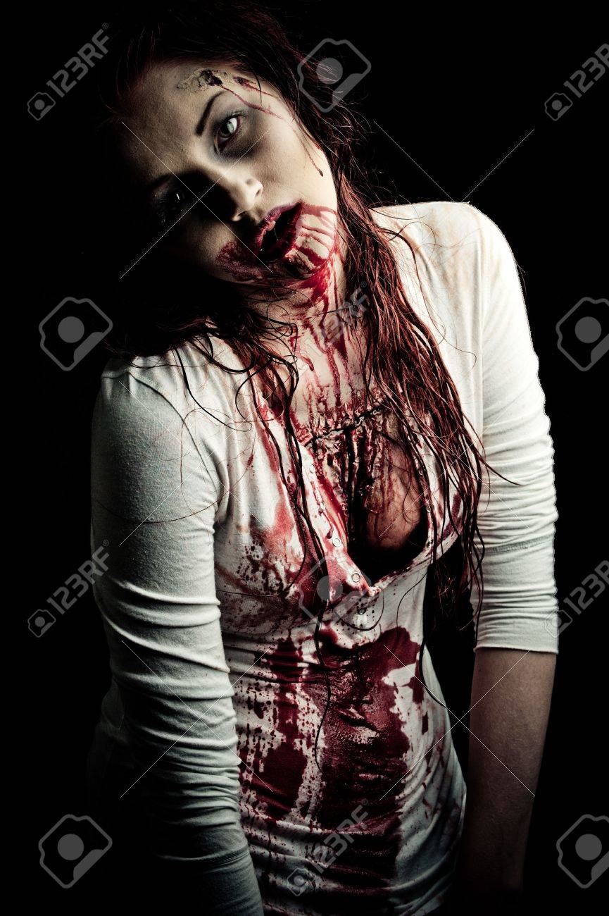 a bloody and scary looking zombie girl Stock Photo - 6959881