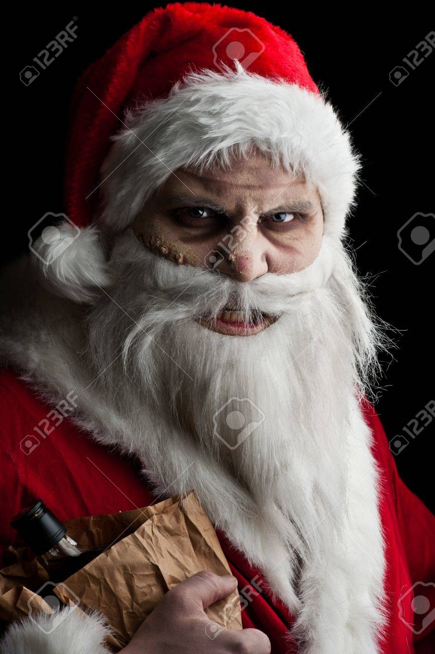 a drunk santa with a liquer bottle in a brown paper bag Stock Photo - 8381404