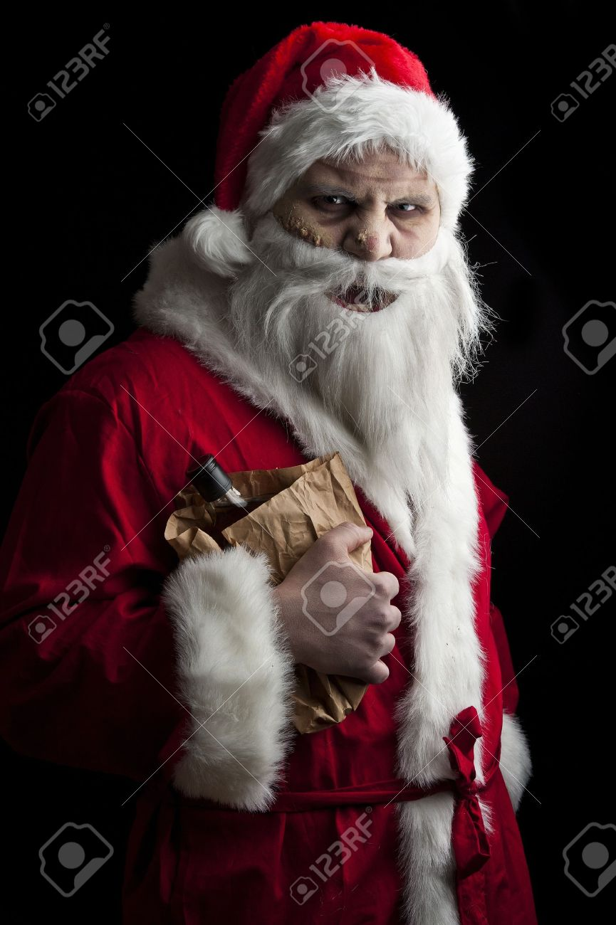 a drunk santa with a liquer bottle in a brown paper bag Stock Photo - 8462649