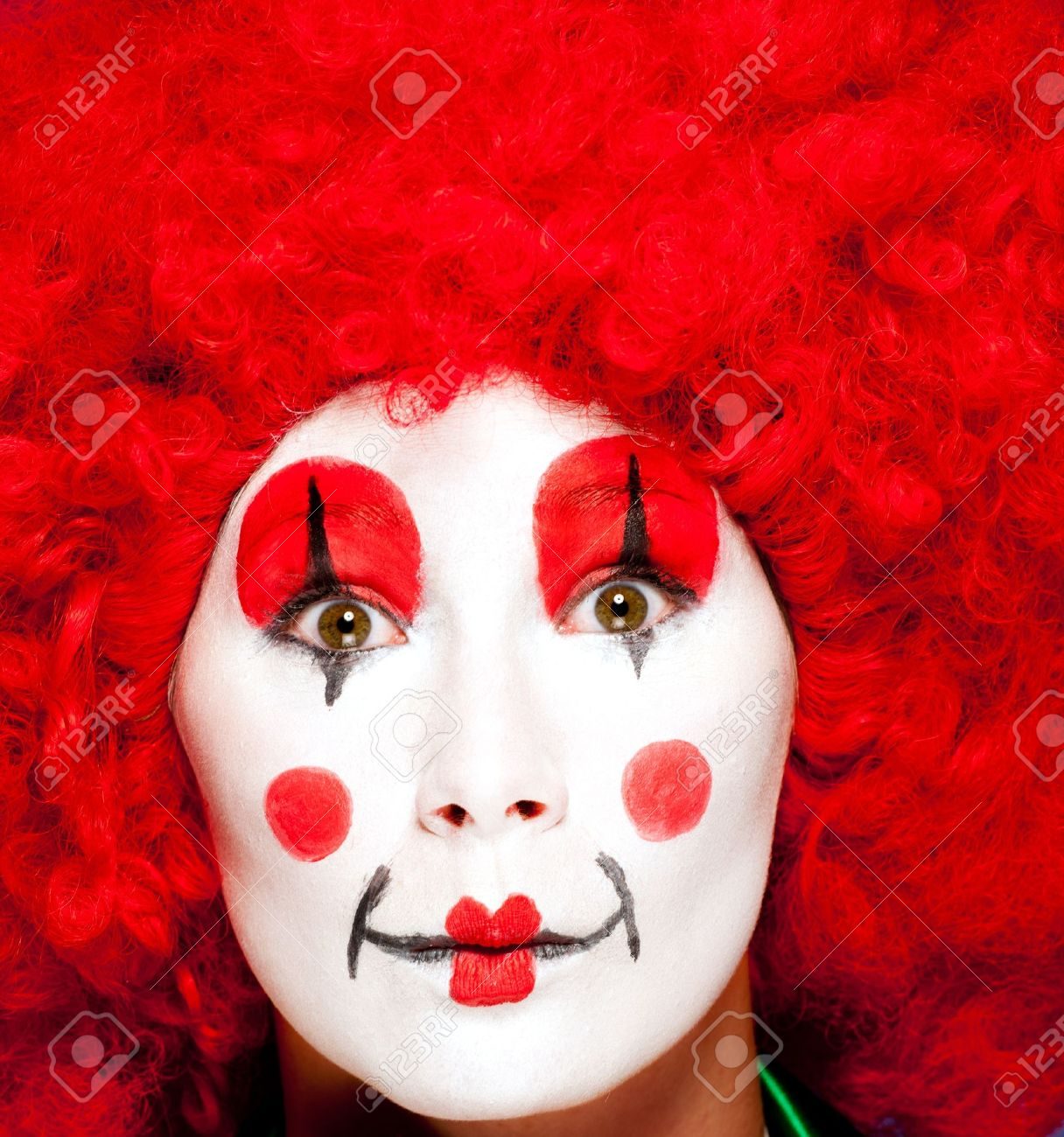 a female clown with colorful clothes and makeup Stock Photo - 11218671