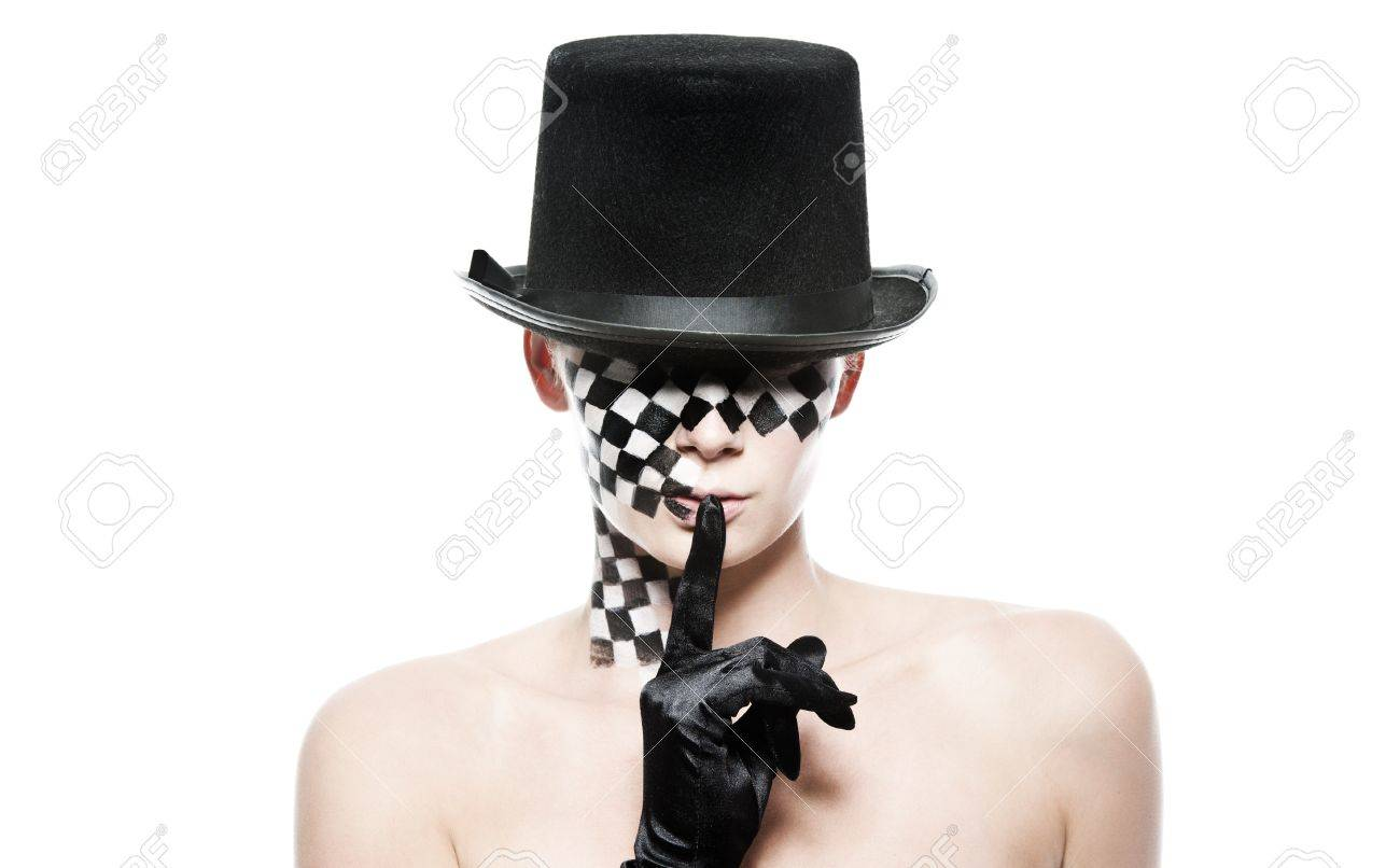 a young brunette wearing a creative chess make up Stock Photo - 12517395