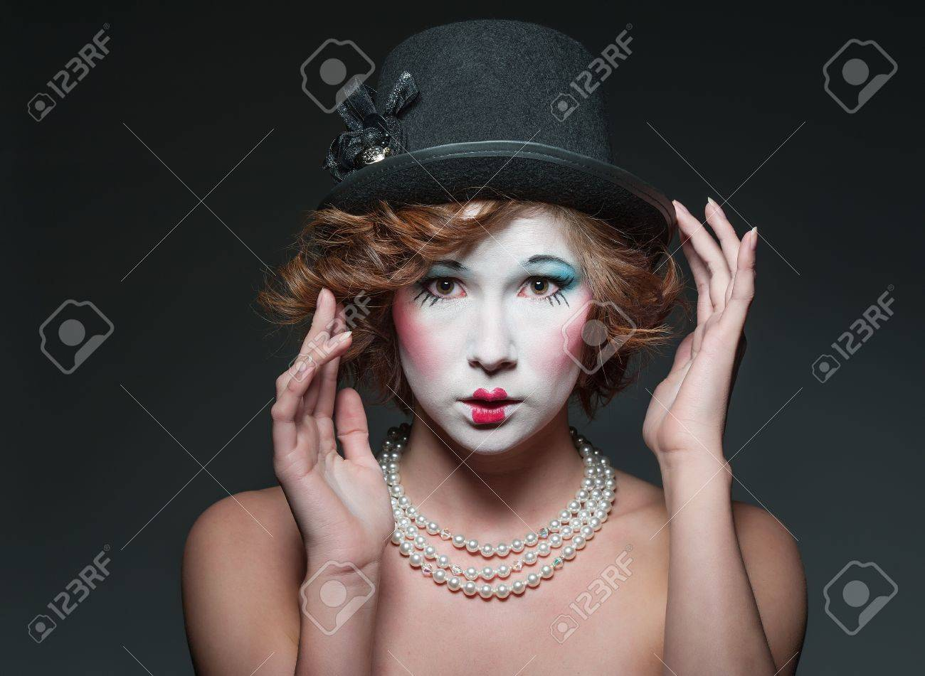a girl dressed up as an old vintage porcelain doll Stock Photo - 13068598
