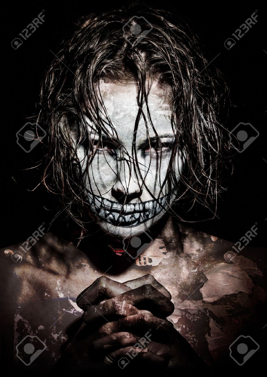 a scary looking girl with face paint Stock Photo - 13126791