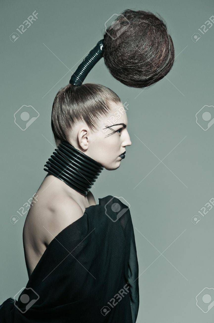 a young model with a creative avantgarde hairstyle Stock Photo - 13487135