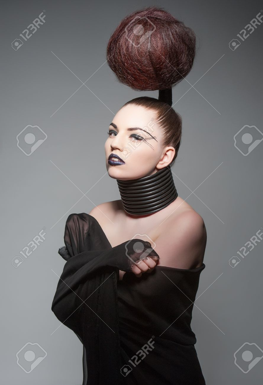 a young model with a creative avantgarde hairstyle Stock Photo - 13487132