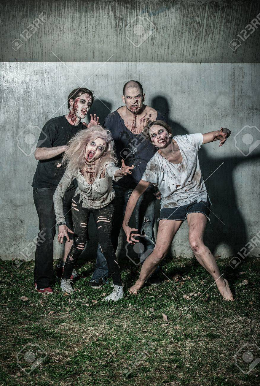 scary bloody zombies waiting for a prey Stock Photo - 20529020