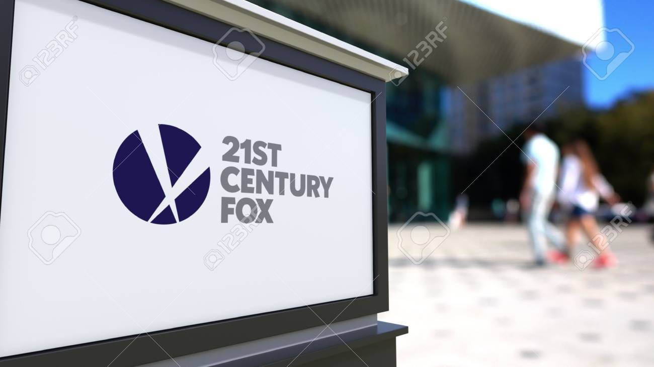 Street signage board with 21st Century Fox logo  Blurred office