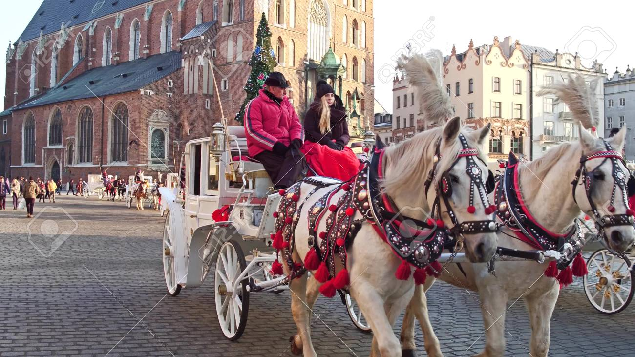 Krakow Poland January 14 2017 Retro Horse Drawn Carriage Stock Photo Picture And Royalty Free Image Image 69518062