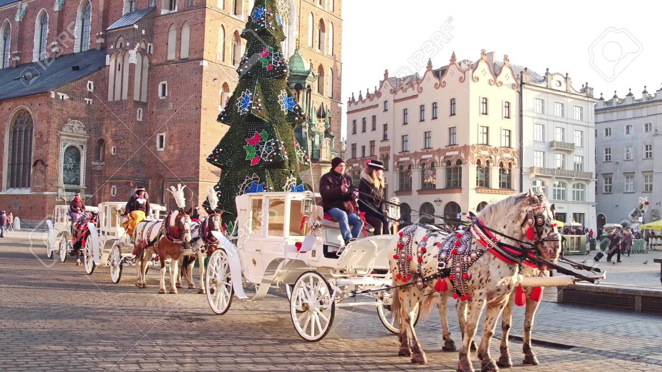 Krakow Poland January 14 2017 Retro Horse Drawn Carriages Stock Photo Picture And Royalty Free Image Image 69851147