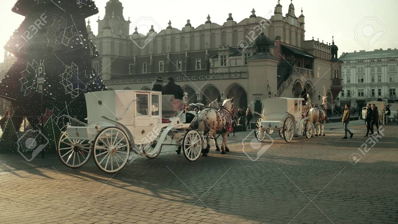 Krakow Poland January 14 2017 Horse Drawn Carriages And Stock Photo Picture And Royalty Free Image Image 70062924